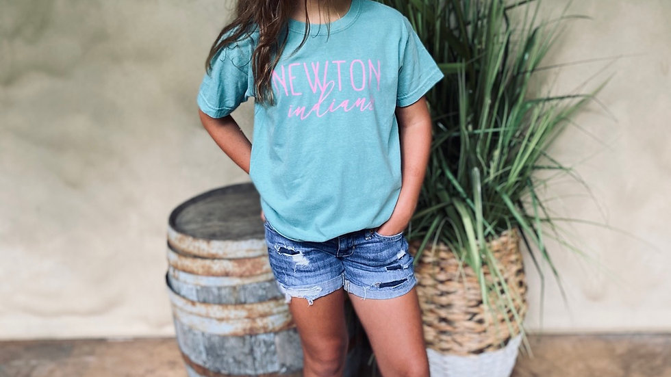 UNISEX ADULT & YOUTH PINK NEWTON SCRIPT SURF SHOP TEE
