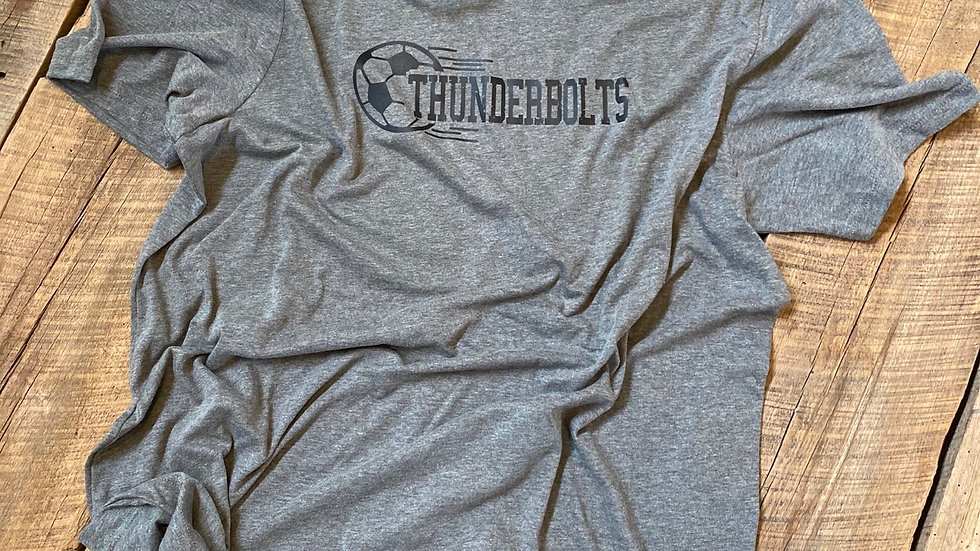 UNISEX ADULT & YOUTH THUNDERBOLTS SOCCER GRAY TRIBPEND TEE