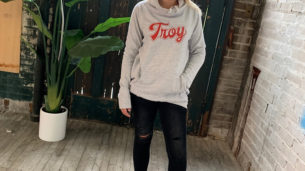 WOMENS RED SCRIPT TROY FRENCH TERRY COWL NECK