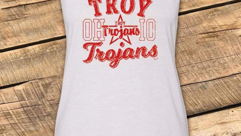 WOMENS RED RETRO TROY WHITE MUSCLE TANK CF