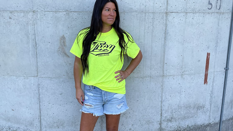 Unisex Adult & Youth Troy Trojans neon painted cotton tee