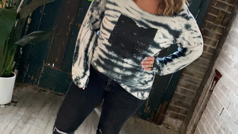 WOMENS OHIO OFF SHOULDER TIE DYE SWEATSHIRT