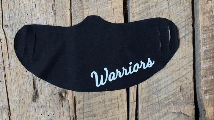 Wayne Warriors white script face mask