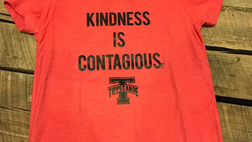 UNISEX ADULT & YOUTH RED TIPP KINDESS IS CONTAGIOUS TRIBLEND TEE