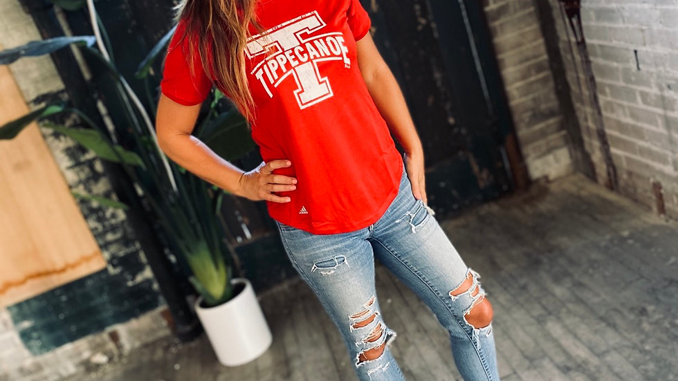 WOMENS RED TIPPECANOE ADIDAS TEE