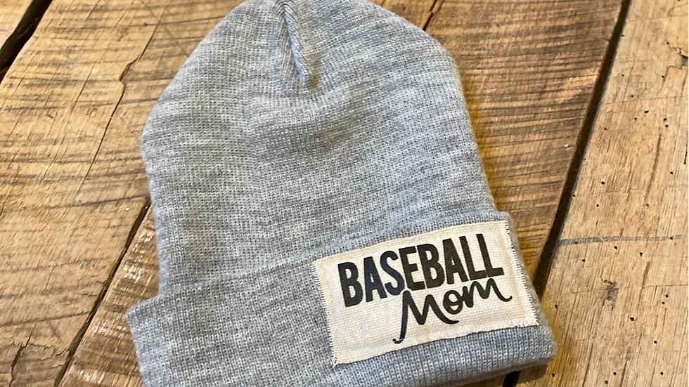 BASEBALL MOM GRAY BEANIE