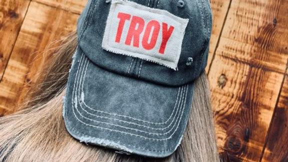 Black Distressed Troy Baseball Cap