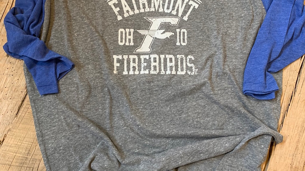 UNISEX ADULT & YOUTH FAIRMONT FIREBIRDS ROYAL BASEBALL TEE