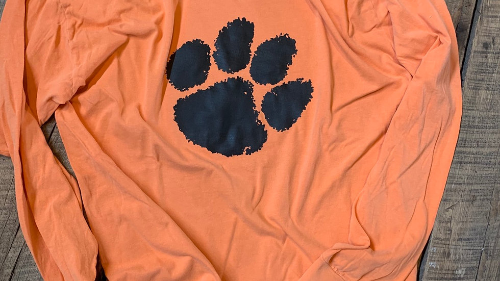 UNISEX ADULT & YOUTH TIGER PAW ORANGE DYED LONG SLEEVE TEE