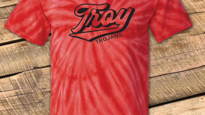 UNISEX ADULT & YOUTH RETRO TROY RED TIE DYE TEE CF