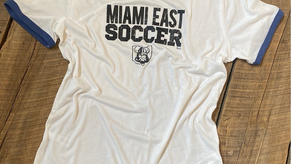 UNISEX ADULT & YOUTH MIAMI EAST SOCCER BLUE RINGER TEE