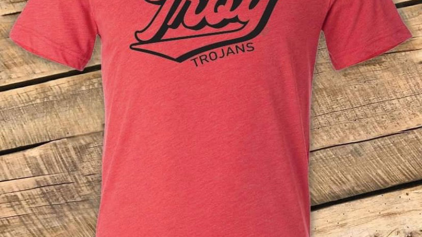 UNISEX ADULT & YOUTH RETRO TROY RED TRIBLEND TEE CF