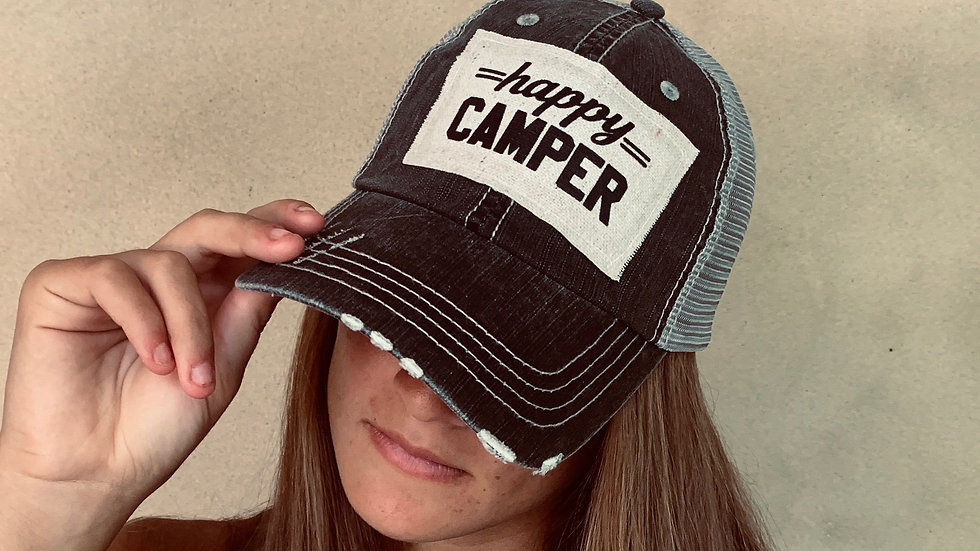 Happy Camper distressed ball cap