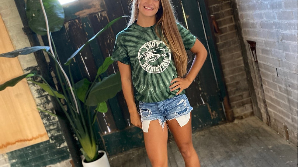 UNISEX TROY CHRISTIAN GREEN TIE DYED TEE