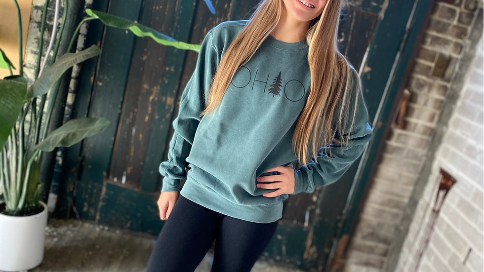 UNISEX OHIO TREE DYED CREW NECK SWEATSHIRT