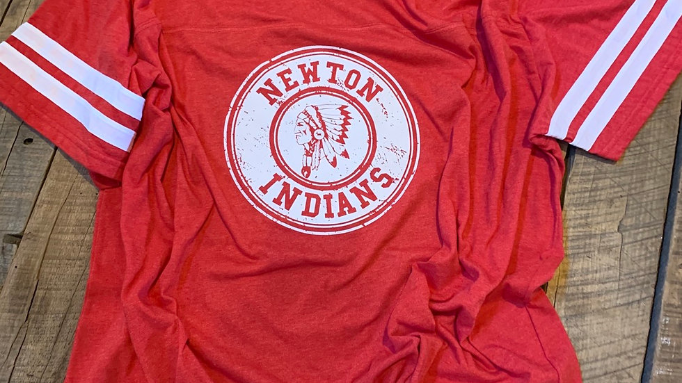 UNISEX ADULT & YOUTH WHOTE NEWTON CIRCLE RED FOOTBALL TEE