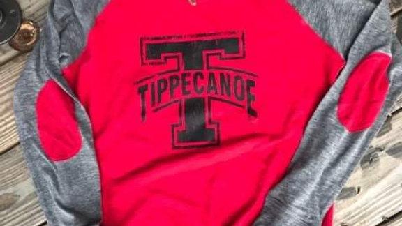 WOMENs & GIRLS RED TIPPECANOE PATCH SLEEVE-RUNS SMALL
