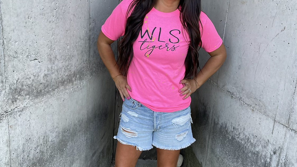 Unisex Adult & Youth WLS Tigers neon painted cotton tee