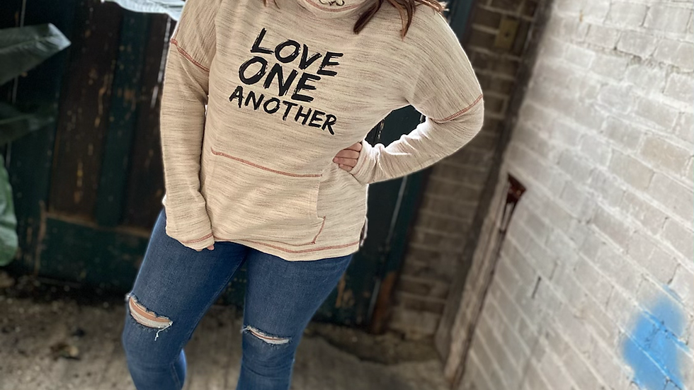 WOMENS LOVE ONE ANOTHER RED COWL FRENCH TERRY SWEATSHIRT