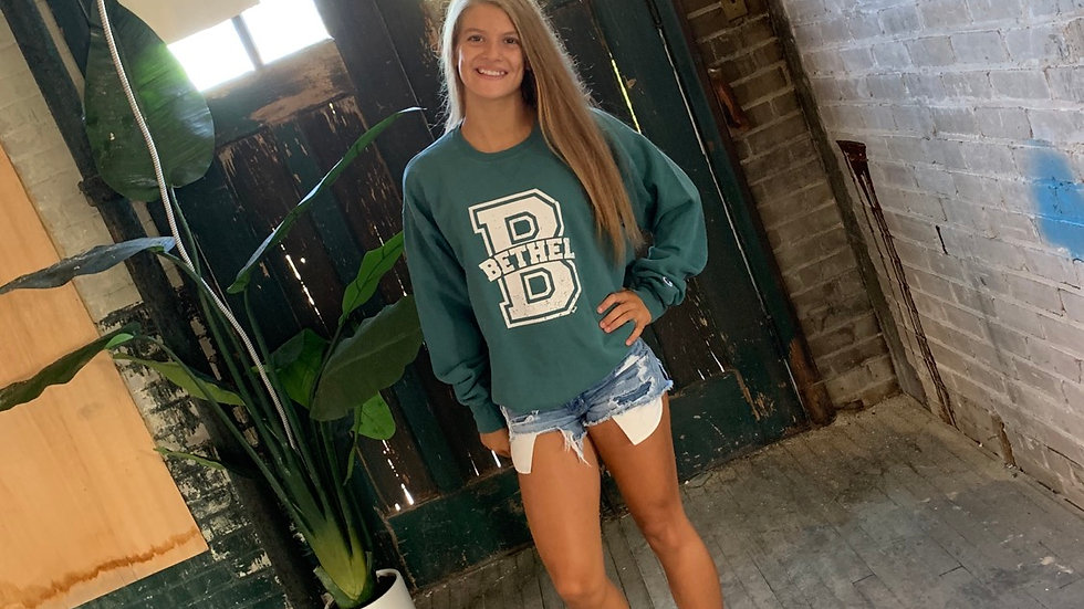 UNISEX CHAMPION GREEN BETHEL B CREW NECK SWEATSHIRT
