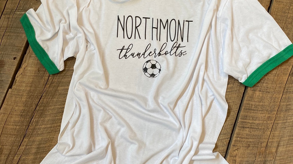 UNISEX ADULT & YOUTH NORTHMONT THUNDERBOLTS SOCER GREEN RINGER TEE