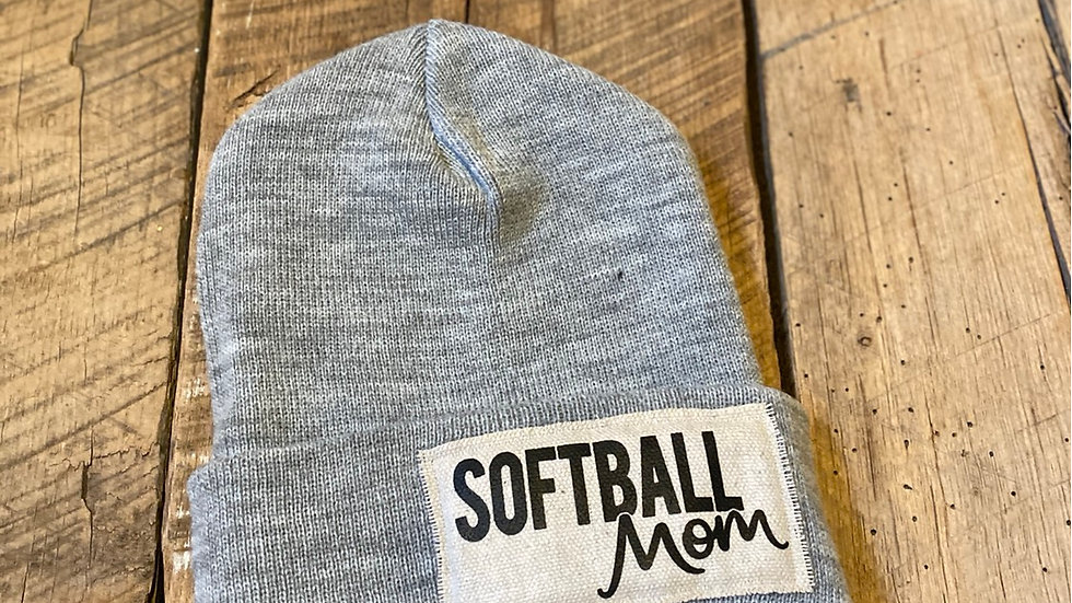 SOFTBALL MOM GRAY BEANIE
