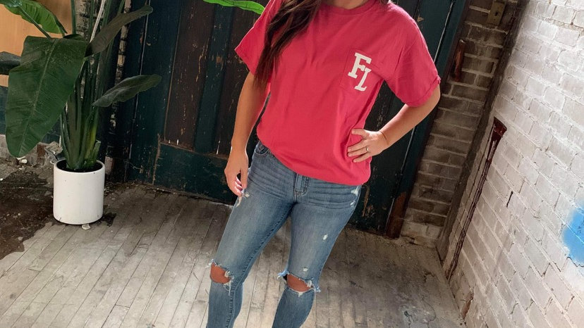 UNISEX FL RED DYED POCKET TEE