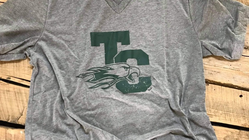 UNISEX ADULT & YOUTH GREEN TC EAGLE GRAY VNECK TRIBLEND TEE