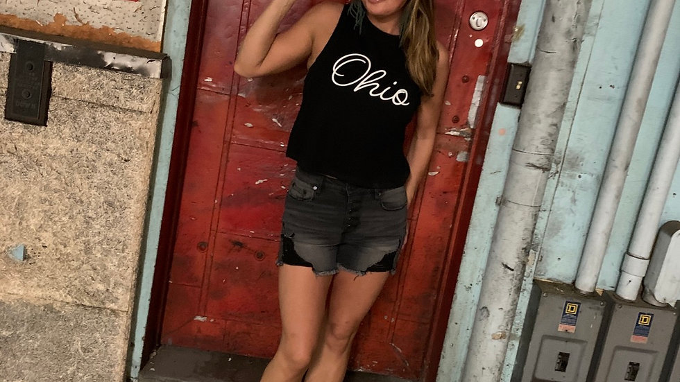 WOMENS OHIO SCRIPT BLAVK CROPPED TANK
