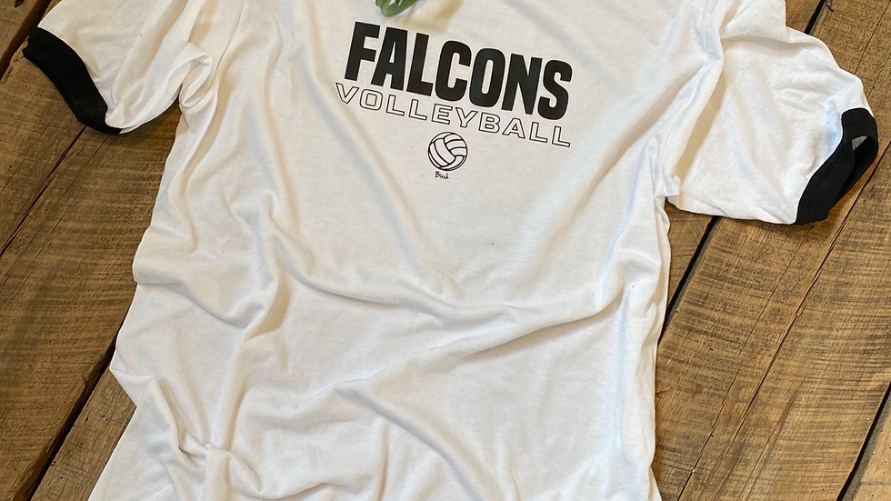 UNISEX ADULT & YOUTH FALCONS VOLLEYBALL RINGER TEE