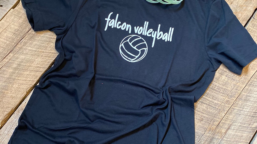 UNISEX ADULT & YOUTH FALCON VOLLEYBALL BLACK TRIBLEND TEE