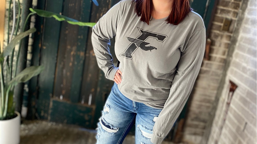 UNISEX ADULT & YOUTH FAIRMONT FIREBIRDS F GRAY YED LONG SLEEVE TEE