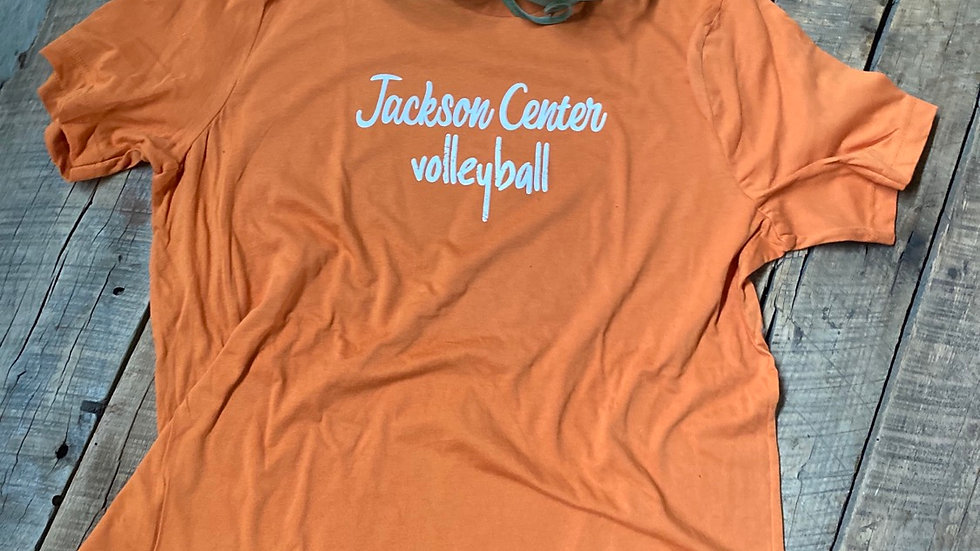 UNISEX ADULT & YOUTH JACKSON CENTER VOLLEYBALL ORANGE TRIBLEND TEE