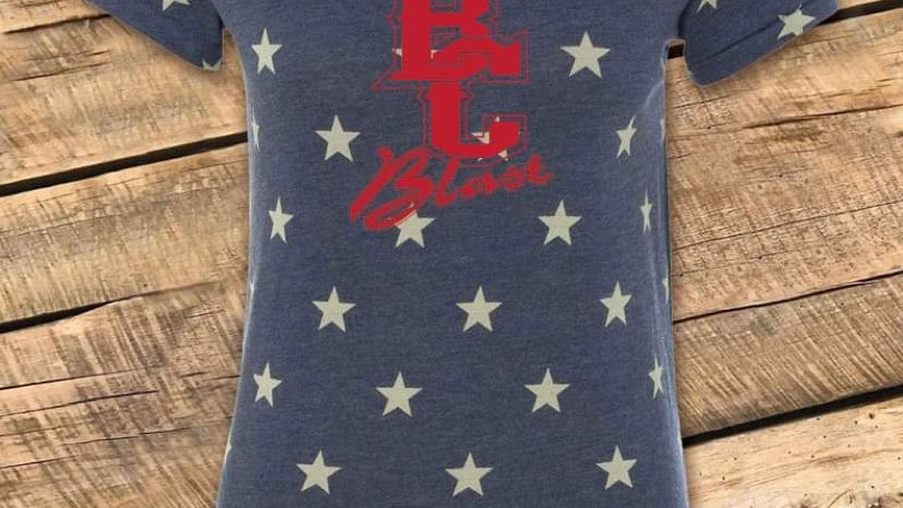 WOMENS & YOUTH (youth has red strips on neck and sleeves) STAR TEE BCF