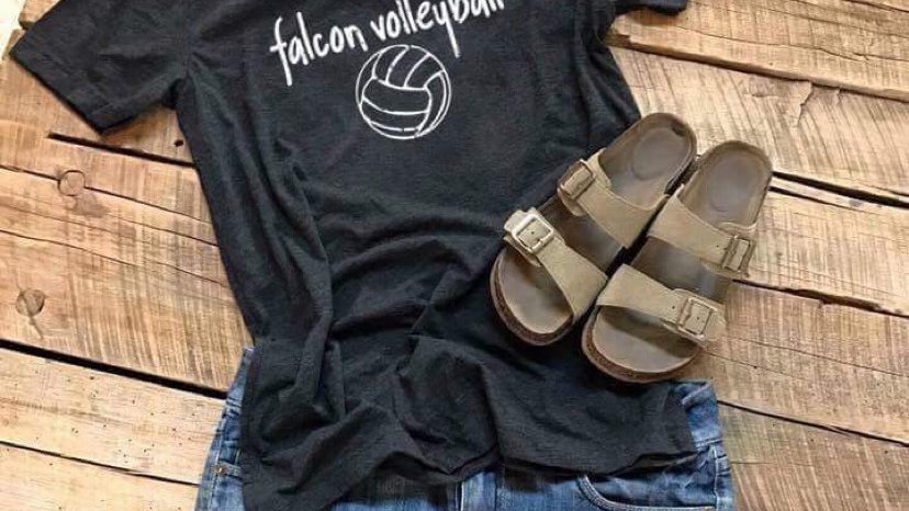 UNISEX ADULT & YOUTH FALCON VOLLEYBALL CHARCOAL TRIBLEND TEE
