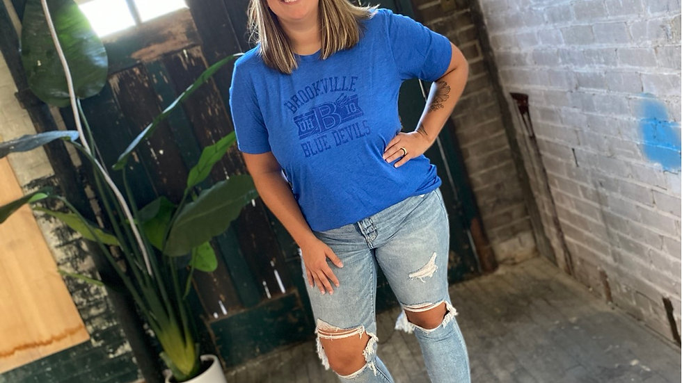 UNISEX ADULT & YOUTH BLUE ON BLUE RETRO BROOKVILLE TRIBLEND TEE