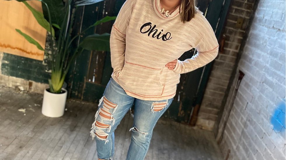 WOMENS OHIO SCRIPT RED FRENCH TERRY COWL NECK
