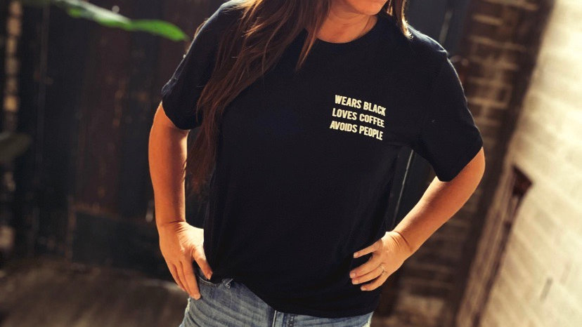 UNISEX WEARS BLACK AVOIDS PEOPLE BLAVK TRIBLEND TEE