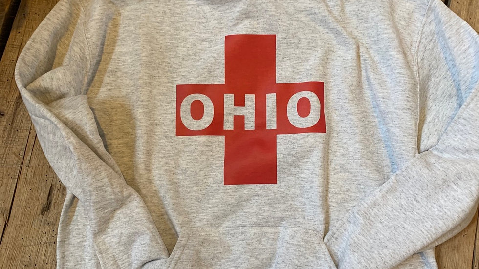 UNISEX ADULT & YOUTH OHIO CROSS GRAY HEAVY COTTON HOODIE