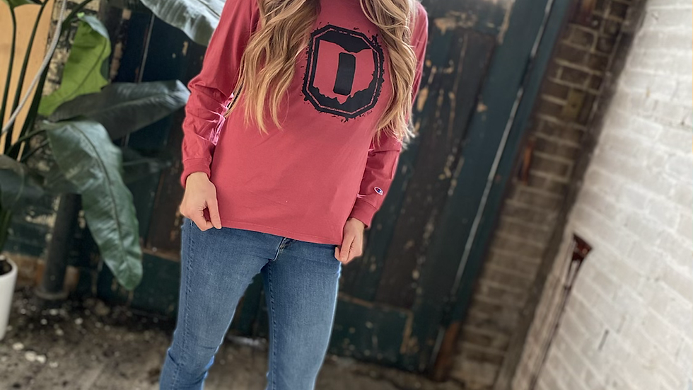 UNISEX OHIO O RED DYED CHAMPION LONG SLEEVE TEE