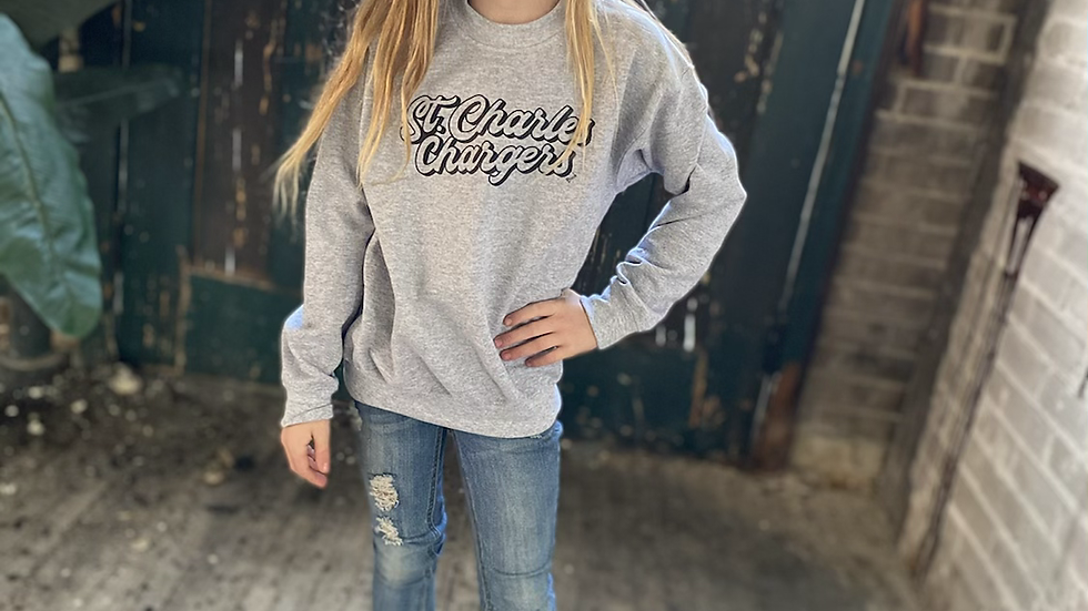 UNISEX ADULT & YOUTH RETRO ST CHARLES CHARGERS HEAVY COTTON CREW NECK SWEATSHIRT
