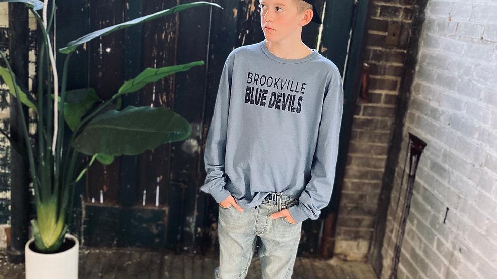UNISEX BROOKVILLE BLUE DEVILS CHAMPION DYED LONG SLEEVE TEE