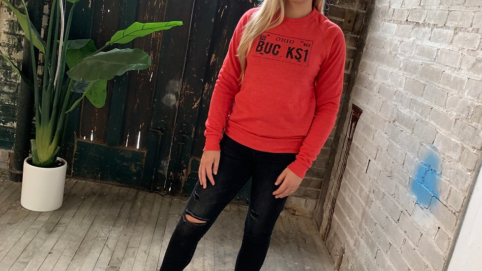 UNISEX BUCKS LICENSE PLATE RED CREW NECK SWEATSHIRT