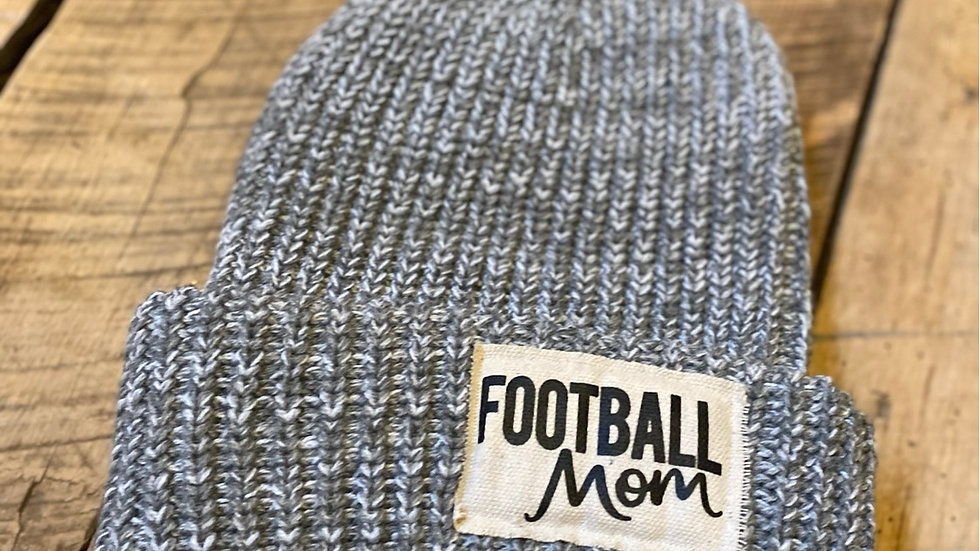 FOOTBALL MOM BLACK FLECK PATCH BEANIE
