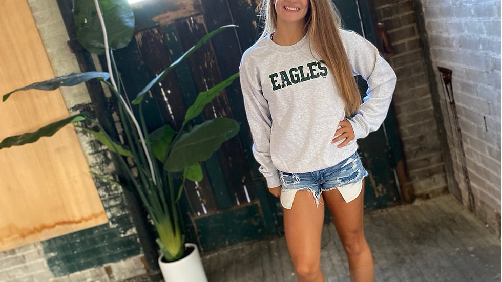 UNISEX ADULT & YOUTH EAGLES GRAY HEAVY COTTON CREW NECK SWEATSHIRT