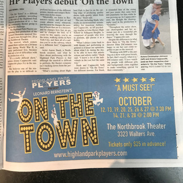 Highland Park Players On the Town Newspaper Ad