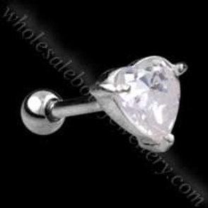 Silver Heart Gem Steel Microbar (TIP-156)