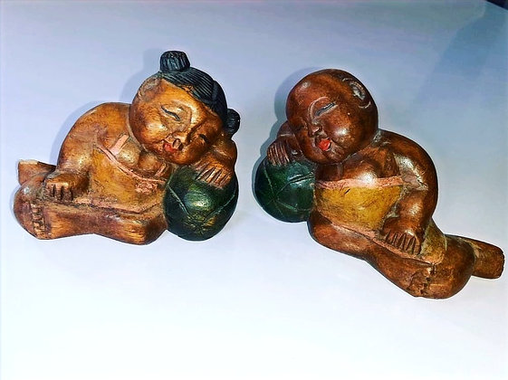 Pair Of Sleeping Boy And Girl Buddha Hand Carved Wooden Figurine