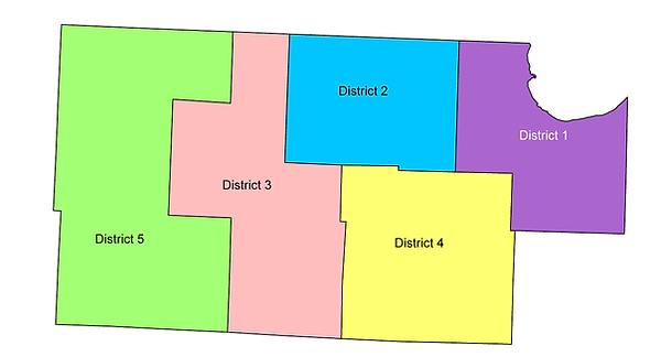 Image of Roseau County and the five supervisor districts