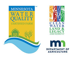 MN Ag Water Quality Certification Program sign, Clean Water Fund logo, MN Dept of Ag logo